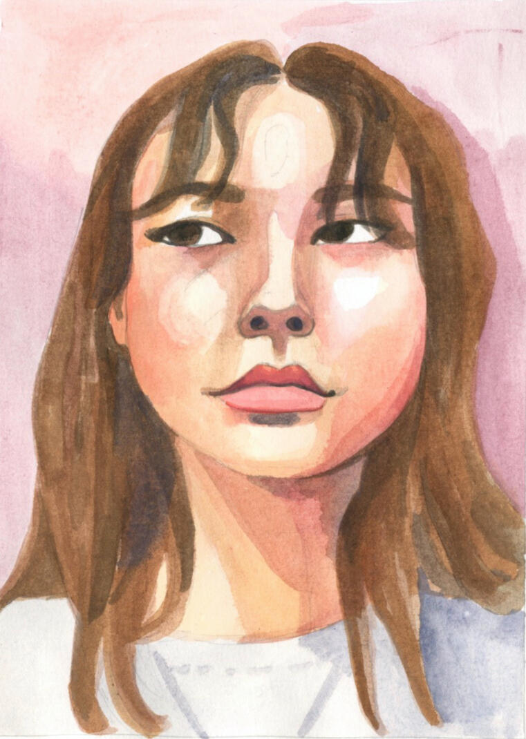 Watercolor Portrait of a Brunette Girl by Ursula Viglietta