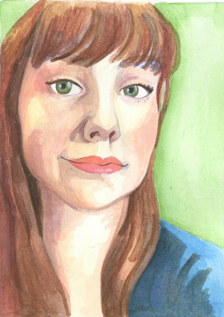 Watercolor Portrait of a girl on green by Ursula Viglietta